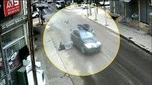 Motosiklet Sürücüsü Çarptığı Otomobilin Üstünde Böyle Kaldı