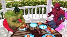 Frozen Elsa Vs Killer Clown SpiderGirl Scream Ghost Food Fight Orange Spiderman Hulk Funny