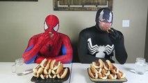 Fat Spiderman vs Fat Venom - Real Life Hot Dog Eating Contest! Superhero Movie