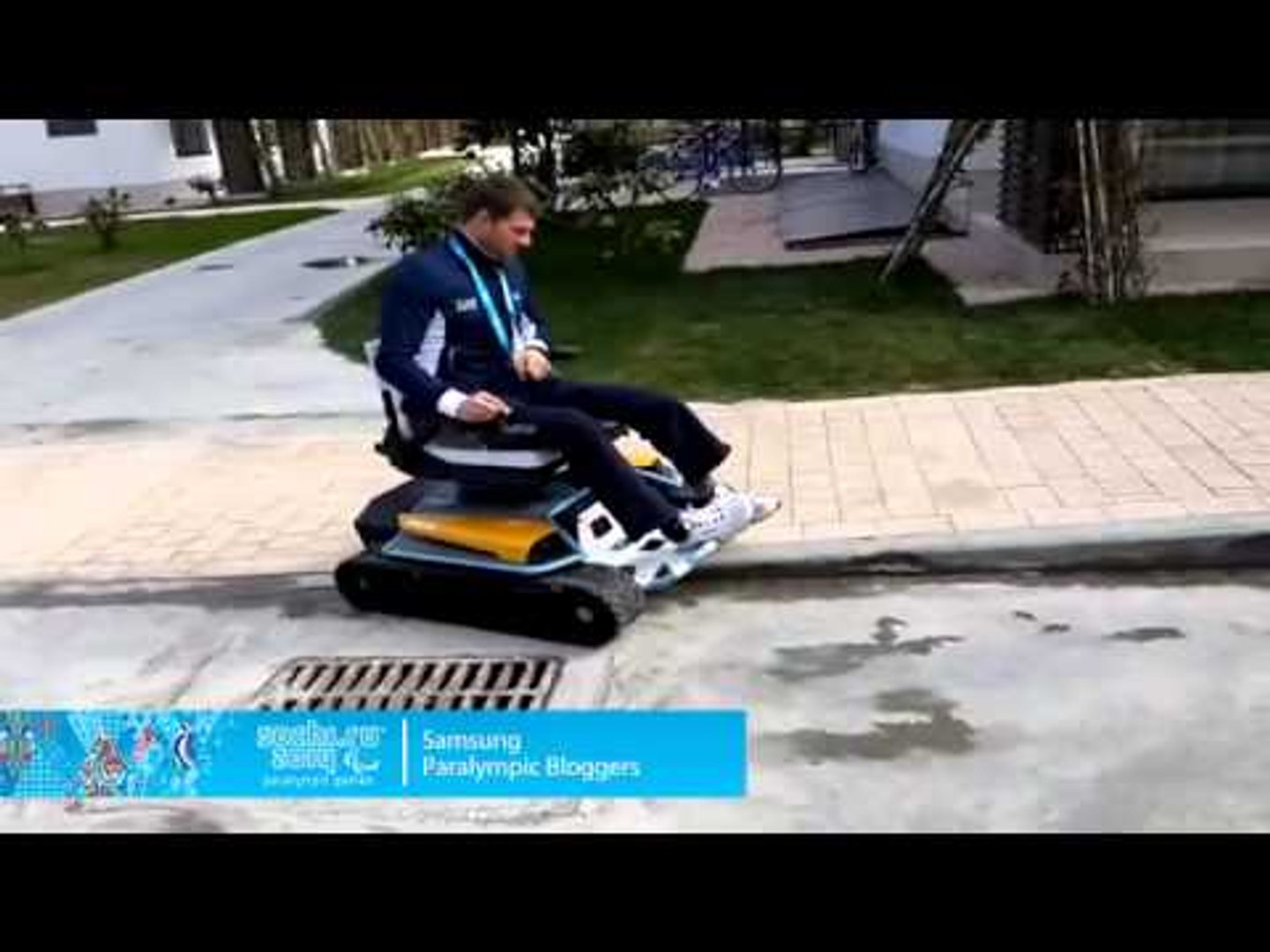 Florian Planker: Werner trying out the Otto Bock Inuit snow and multifunctional vehicle.
