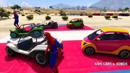Веселая легковые автомобили Транспорт с полицейский человек-паук мультфильм для Дети питомник рифмы песни