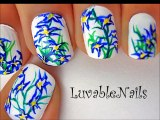 Flowers nail art - flower nail designs tutorial