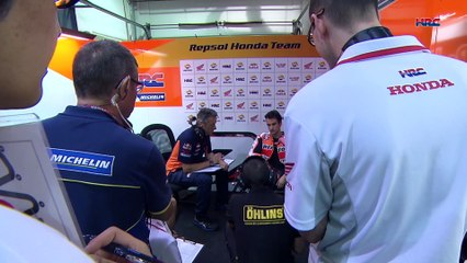Repsol Honda's Dani Pedrosa and Marc Marquez at the MotoGP Qatar preseason test, day 1