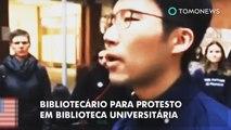 Bibliotecário acaba com protesto em biblioteca universitária