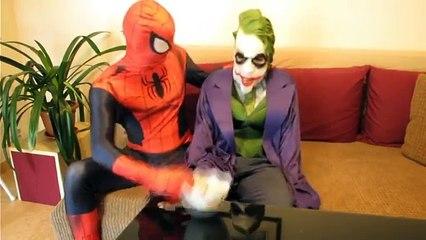 Spiderman, Frozen Elsa Poo Colored Balls vs Joker - Fun Superheroes Movie In Real Life