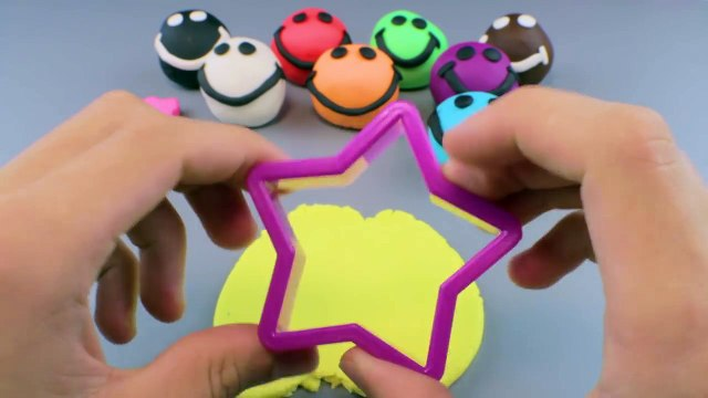 Play Doh Smiley Face with Fish Vehicle Hello Kitty & Star Cookie Cutters - Fun Creative fo
