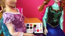 Disney Princess Dolls Playing - Face Painting Fun! Frozen Dolls Videos, Els