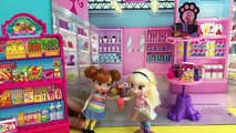 Grocery Shopping! Elsa & Anna kids shop at Barbie's Grocery Sto
