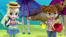 BEACH! Sandcastles  Ice cream! Elsa & Anna at the Beach! Swimming, Eating, Playing w