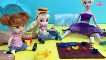 BEACH! Sandcastles  Ice cream! Elsa & Anna at the Beach! Swimming, Eating, Playing with Sand!-