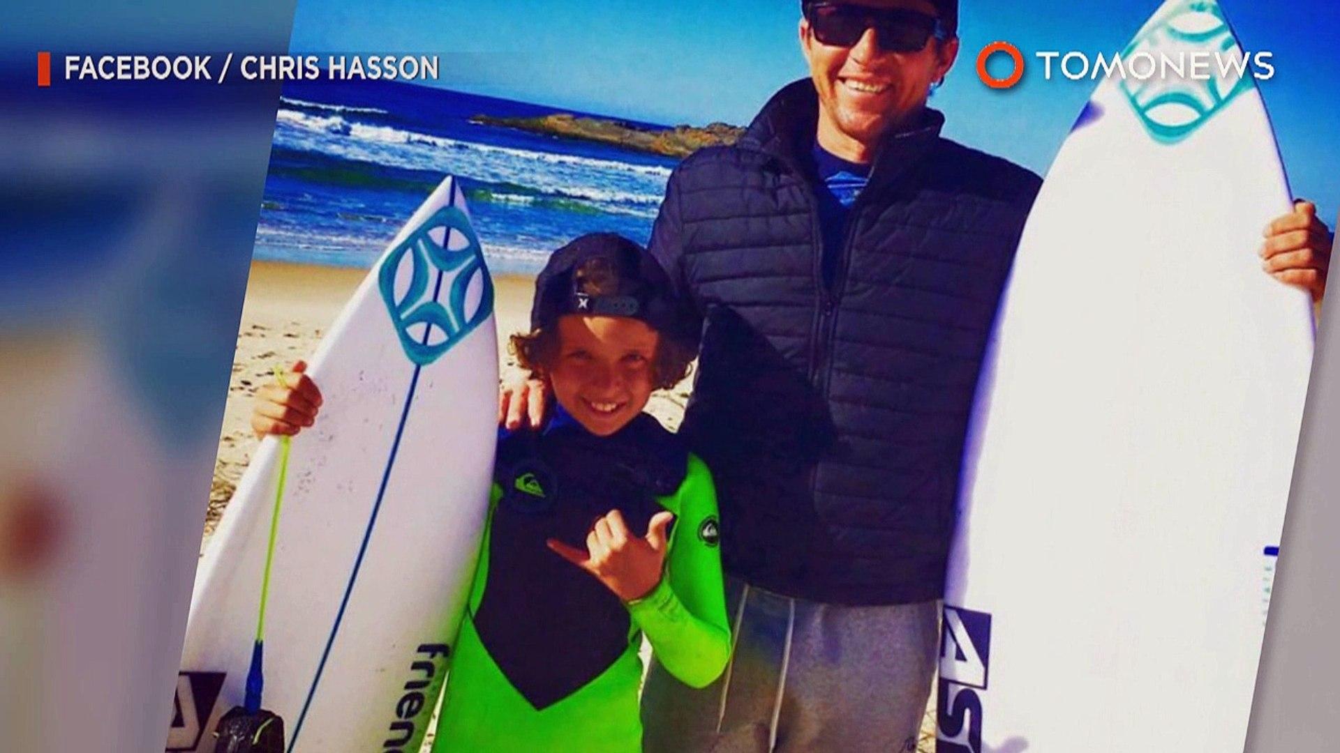 Menino de 10 anos fotografado surfando sobre  Grande Tubarão Branco.