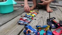 Hot Wheel Cars In The Potty and Toy Crane Fun-Mkc