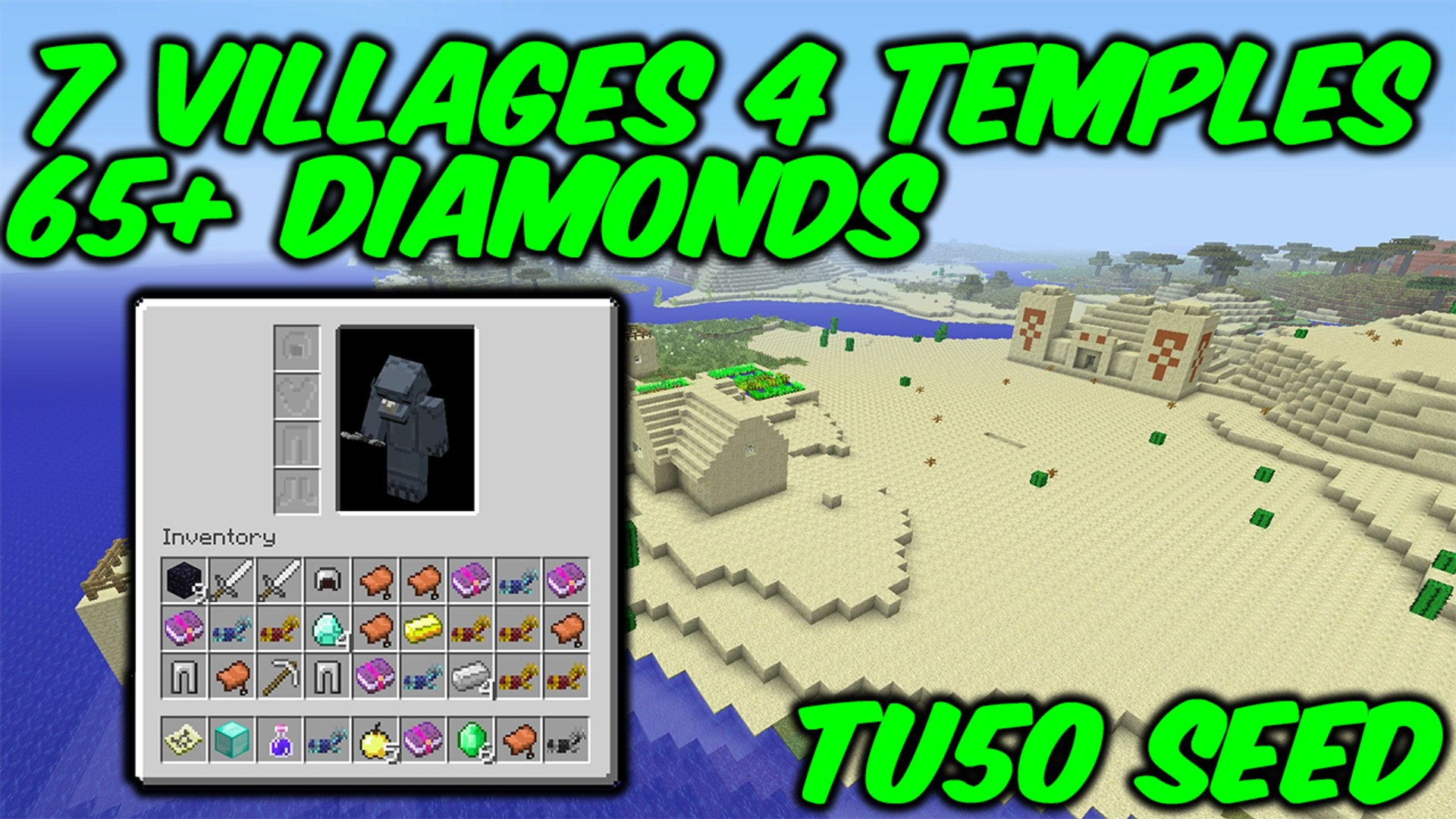 Minecraft Xbox One Ps4 Tu50 Seed 7 Villages 4 Temples 65 Diamonds Video Dailymotion