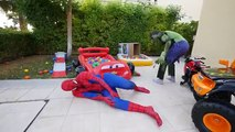 Spiderman CRASH MotorBike & Hulk Monster Trucks Hit Joker Fall in POOL! Prank Banana Fun Superhero