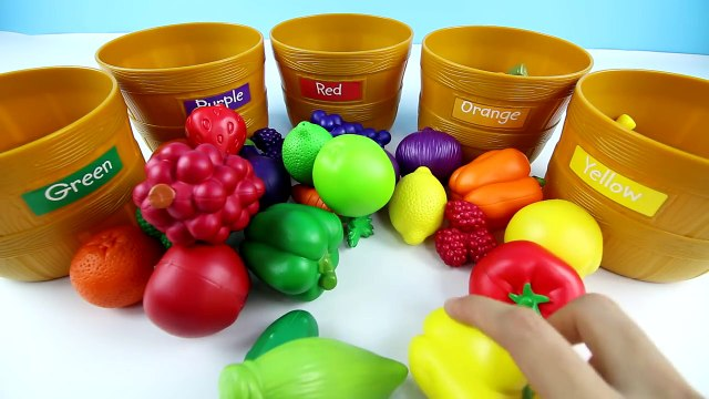 LEARN COLORS by Sorting Fruits and Vegetables From the FarmersMarket|Kids learning Fruits&