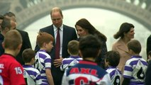William and Kate play rugby in front of Eiffel Tower