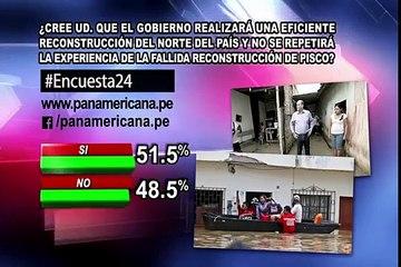 Encuesta 24: 51.5% cree que Gobierno reconstruirá eficientemente el norte del país