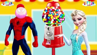 Spiderman vs Frozen Elsa Funny Bubble Gum Pranks Compilation 24