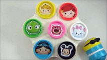 LEARN COLORS with Disney Tsum Tsums! Play doh Toy Surprise Cans, Disney ツムツム Toys-b4IAE