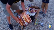 Family Fun Night Playing with Fireworks on 4th of July Lighting Parachute Fireworks & TNT Poppers-u-wx92t6VJE