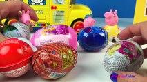 Peppa Pig schoolbus SURPRISE EGGS unboxing - Disney Shopkins Candy Crush Chupa Chups /