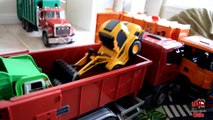 Garbage Truck Videos For Children l TOY TRUCK BATTLE Jumping Ramps l Garbage Trucks Rule-SLRJAK