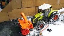 BRUDER toys SNOW tractor crash! Video for kids-_K4