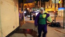 BATMAN SUPERMAN HYBRID vs Joker - Spiderman Deadpool Frozen Elsa NERF WAR IRL - Real Life Superhero-A0J