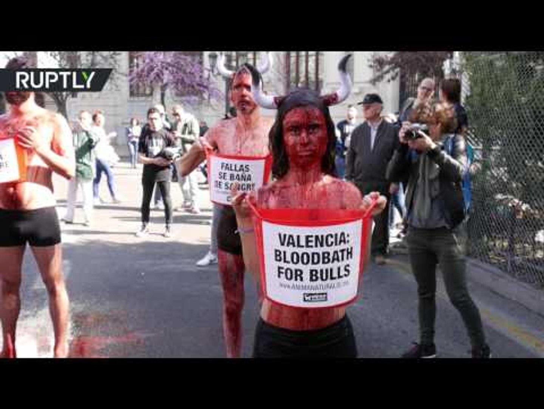 'Bloodbath for bulls': Animal rights activists protest bullfighting in Valencia