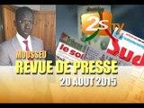 Revue de Presse  DU 20 AOUT 2015