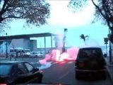 03/04 SC Bastia - OGC Nice Testa Mora attack bus of Nice fans and trouble with riot police