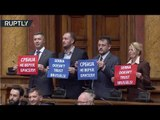'Serbia, Russia, we don't need EU': Protesters booed Mogherini during speech to Serbian Parliament
