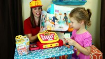 Food Stand Shopping With Minnie Mouse Cash Register & Cooking Mega Bloks Food Truck + Feed