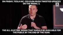Elon Musk gives peek of Tesla Model 3