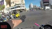 STREET BIKE Wheelie CRASH Motorcycle CRASHES Riding WHEELIES Hits TAXI CAR Main STRIP LAS VEGAS 2016