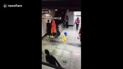 Lucky escape as escalator malfunctions dangerously