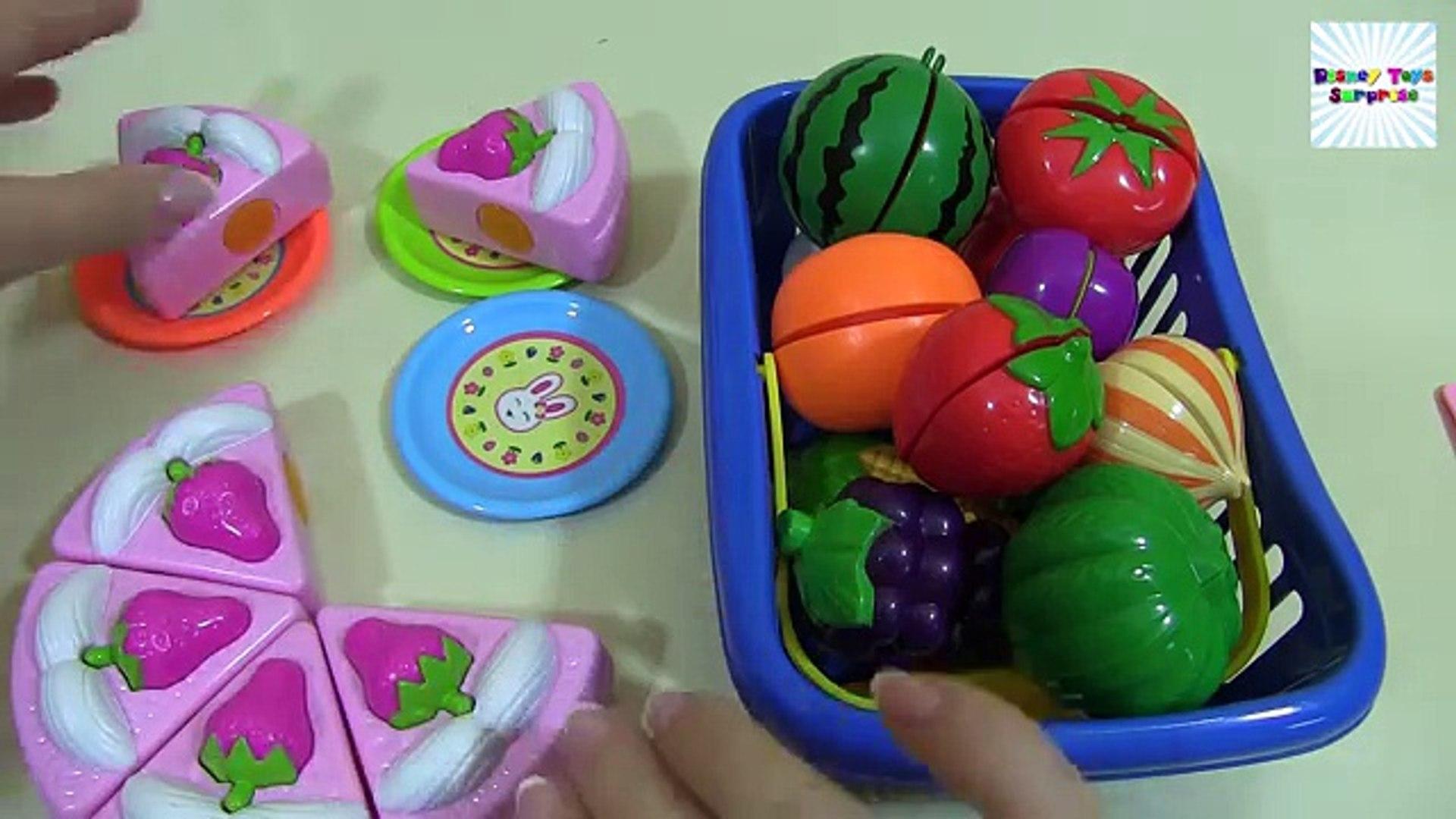 Узнайте имен из фрукты и овощи с игрушка липучка резка питание и маша и в медведь
