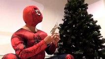 Spidergirl accidentes con los árboles de Navidad! w/ PLAY DOH STOP MOTION Hombre Araña vs El Congelado