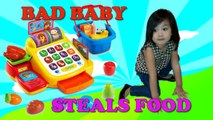 Baby Mikayla Cash Register Toy Pretend Play Money Food with Mommy and Older Brother Happy Fun Time with Family at Home