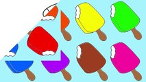 Learn Colors with Rainbow Popsicle Ice Cream Coloring Pages (10) Educational Video for Tod