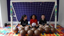 BASHING 10 Giant Surprise Chocolate Footballs - Football Challenges - Kinder Surprise Eggs Opening-GUIiu