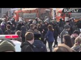 Protesters detained during anti-corruption protest in Moscow (Streamed live)