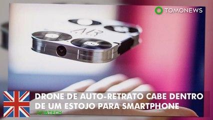 Drone para auto-retrato cabe dentro de uma capa  para smartphone.