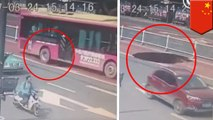 Sinkhole nearly swallows bus in China with 21 passengers