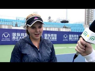 Kayla Day talks after her first round victory