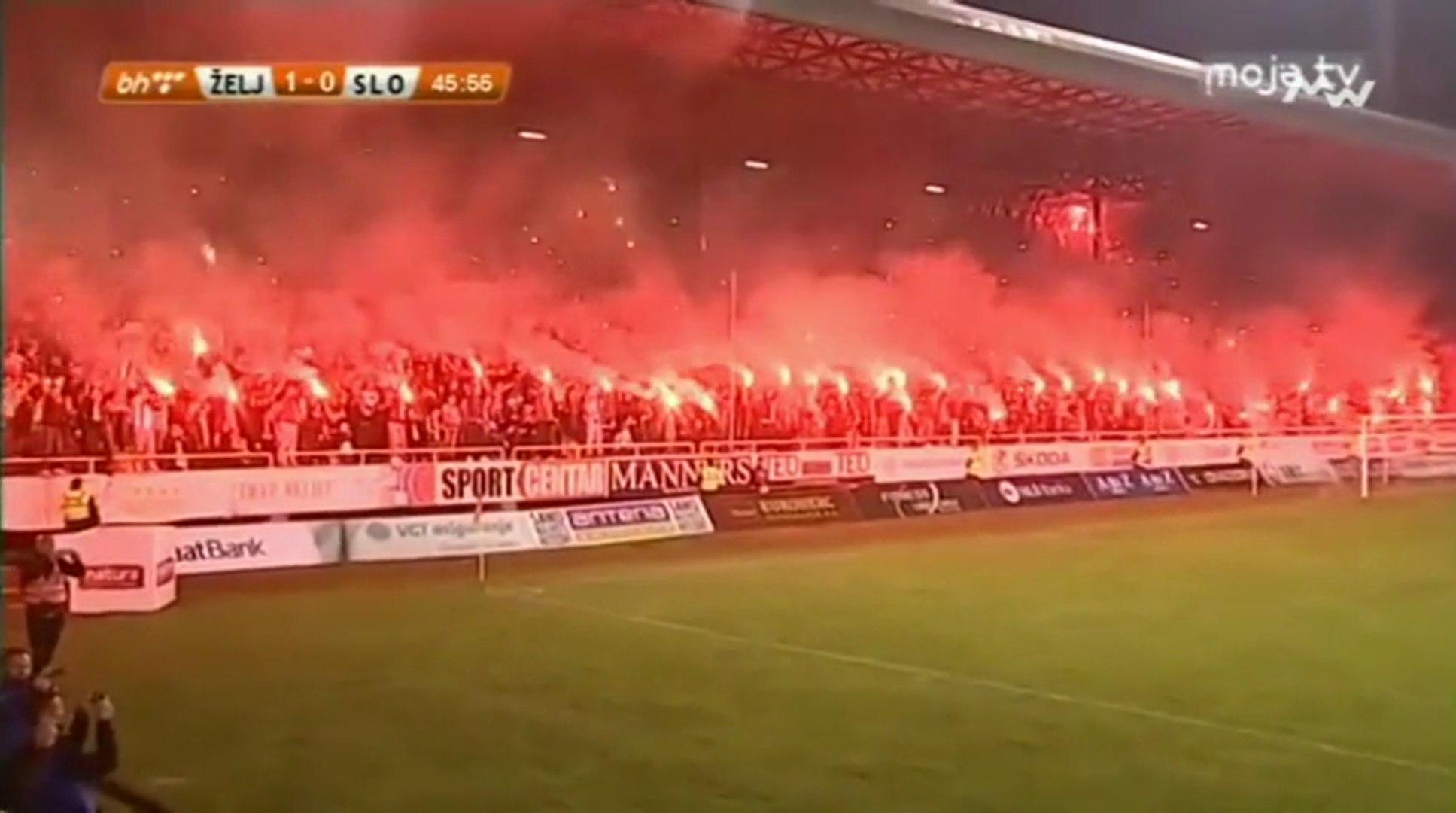 FK Željezničar - FK Sloboda / Vatromet i bakljada na Grbavici