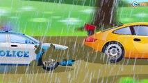 El Coche de Policía es Azul y Carros de Carreras - Carritos para niños - Dibujos animados de Coches