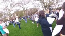 Feathers fly at World Pillow Fight Day event in London