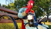 BATMAN SUPERMAN HYBRID vs Joker - Spiderman Deadpool Frozen Elsa NERF WAR IRL - Real Life Superhero-A0J2K8NR0PM
