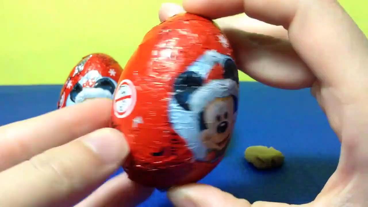 Mickey Mouse Surprise Eggs & Kinder Surprise Eggs Unboxing-8kNCh6dxGGI